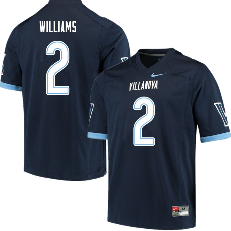 Men #2 Denzel Williams Villanova Wildcats College Football Jerseys Sale-Navy