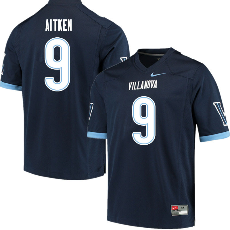 Men #9 Dox Aitken Villanova Wildcats College Football Jerseys Sale-Navy