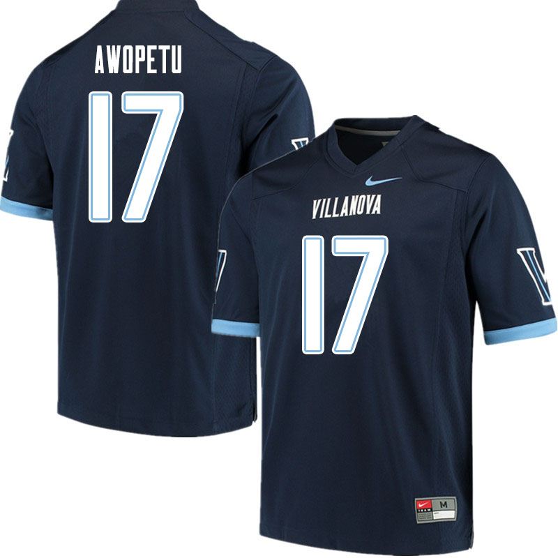 Men #17 Nowoola Awopetu Villanova Wildcats College Football Jerseys Sale-Navy