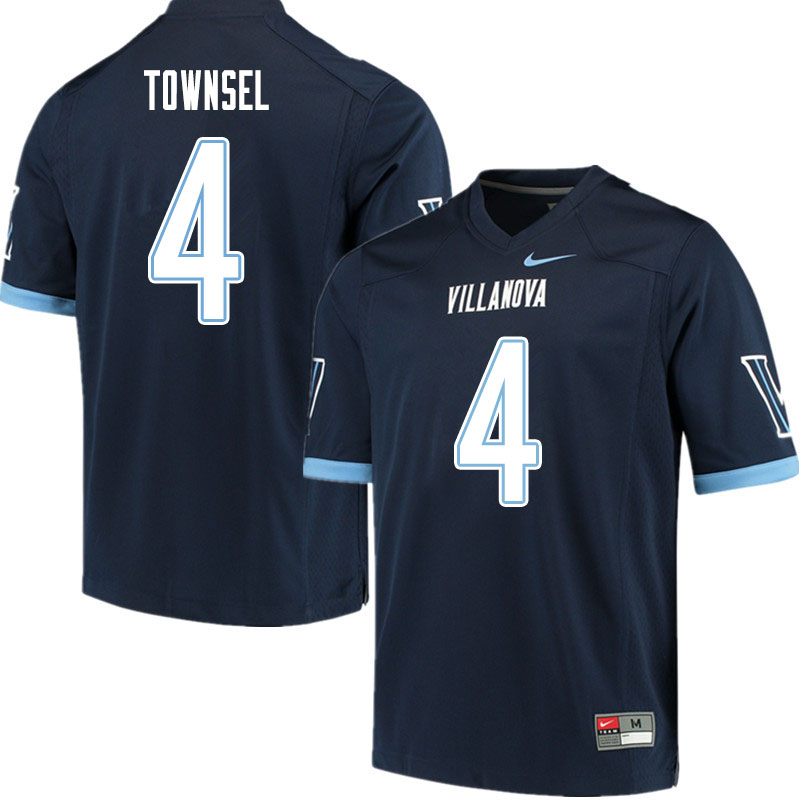 Men #4 Qwahsin Townsel Villanova Wildcats College Football Jerseys Sale-Navy