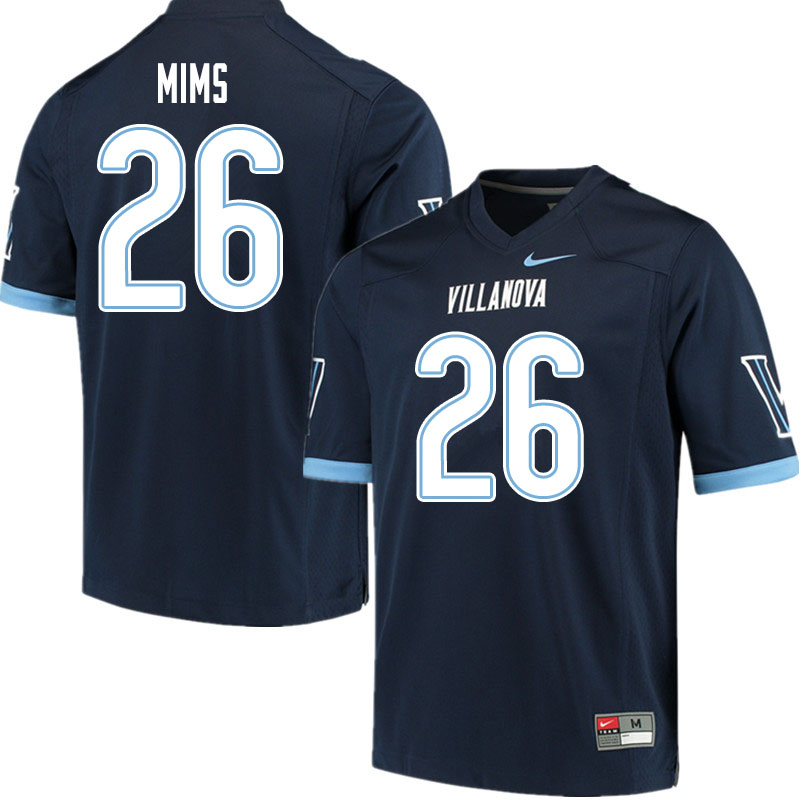 Men #26 Tyrell Mims Villanova Wildcats College Football Jerseys Sale-Navy