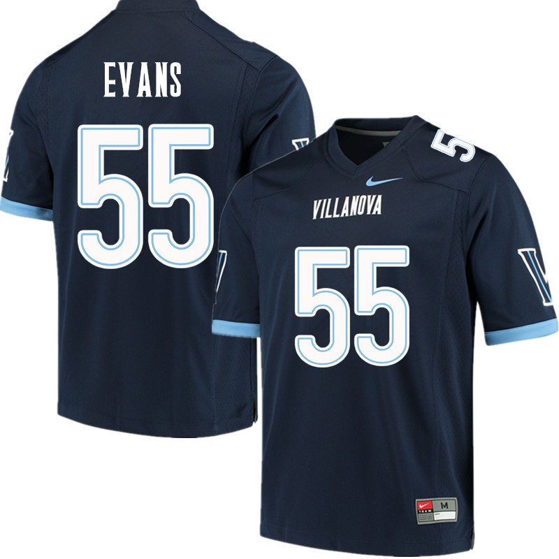 Men #55 Ben Evans Villanova Wildcats College Football Jerseys Sale-Navy