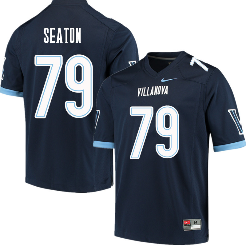Men #79 Brad Seaton Villanova Wildcats College Football Jerseys Sale-Navy