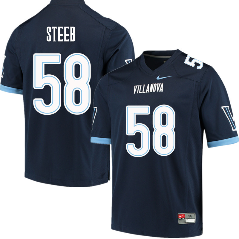 Men #58 Jeff Steeb Villanova Wildcats College Football Jerseys Sale-Navy