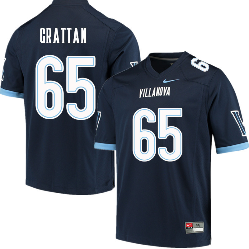 Men #65 Paul Grattan Villanova Wildcats College Football Jerseys Sale-Navy