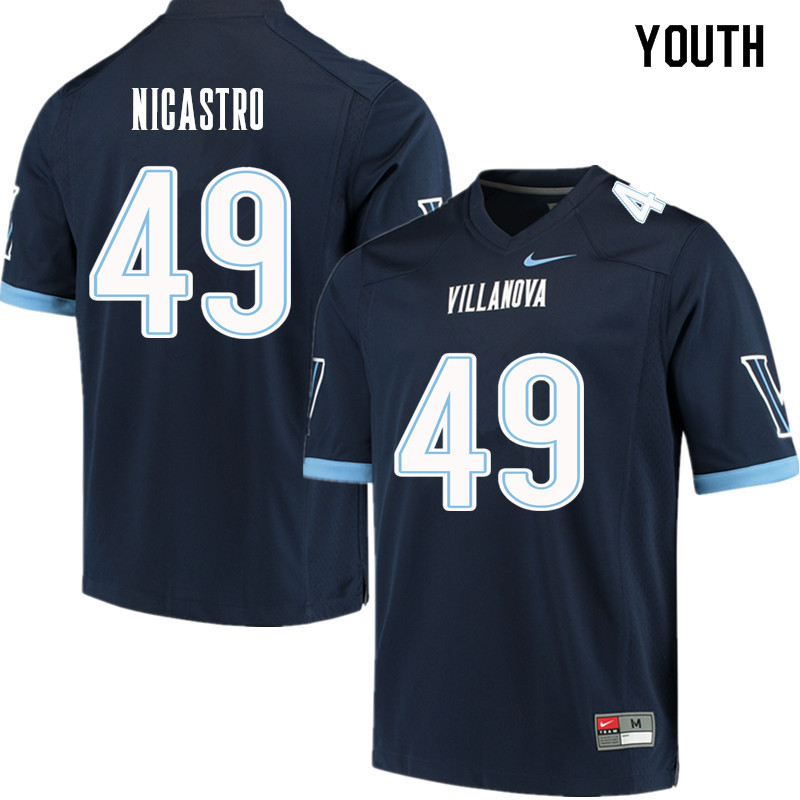 Youth #49 Casey Nicastro Villanova Wildcats College Football Jerseys Sale-Navy