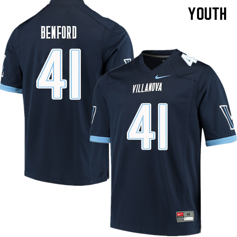 Youth #41 Christian Benford Villanova Wildcats College Football Jerseys Sale-Navy