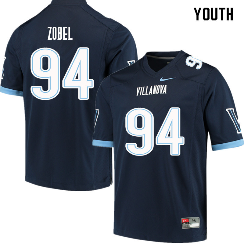 Youth #94 Garrett Zobel Villanova Wildcats College Football Jerseys Sale-Navy