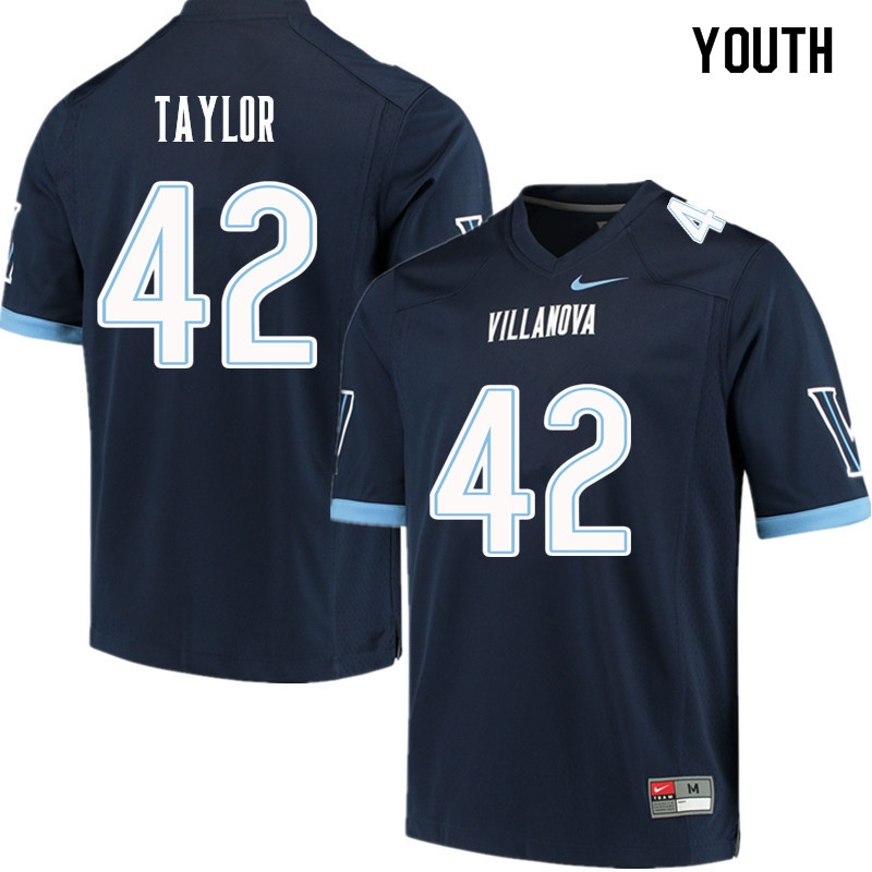 Youth #42 Michael Taylor Villanova Wildcats College Football Jerseys Sale-Navy