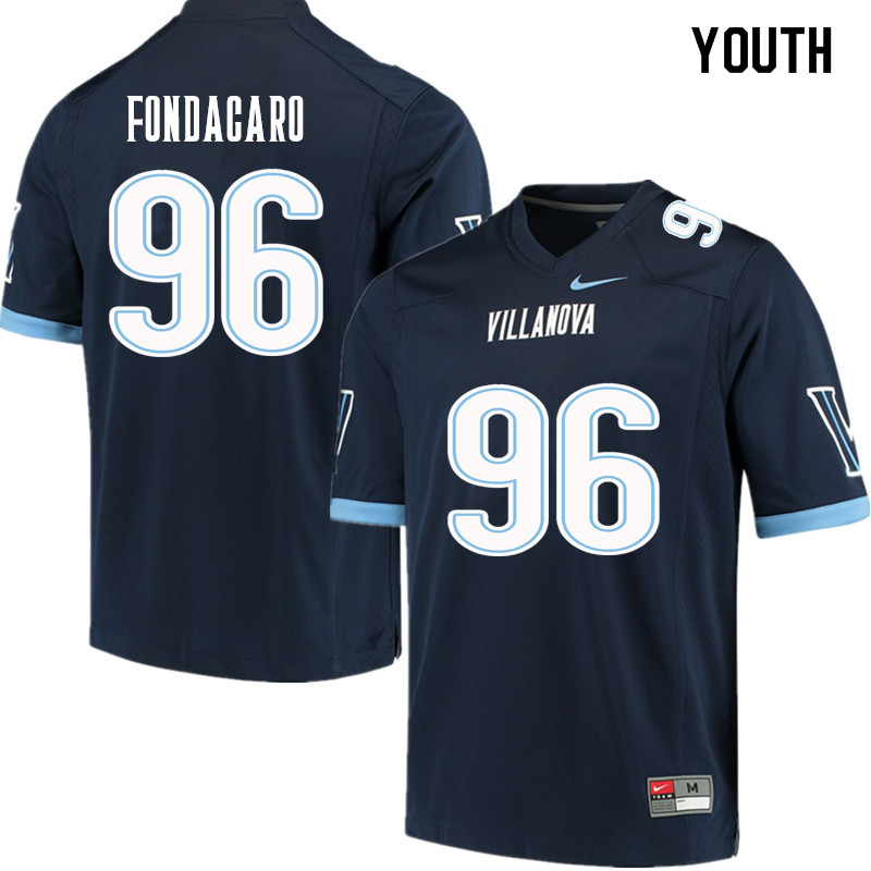 Youth #96 Nathan Fondacaro Villanova Wildcats College Football Jerseys Sale-Navy