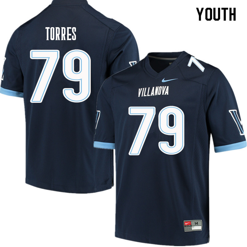 Youth #79 Nick Torres Villanova Wildcats College Football Jerseys Sale-Navy