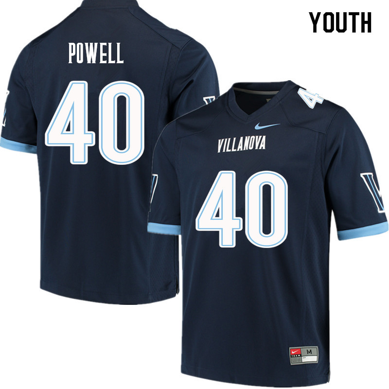 Youth #40 Tahj Powell Villanova Wildcats College Football Jerseys Sale-Navy