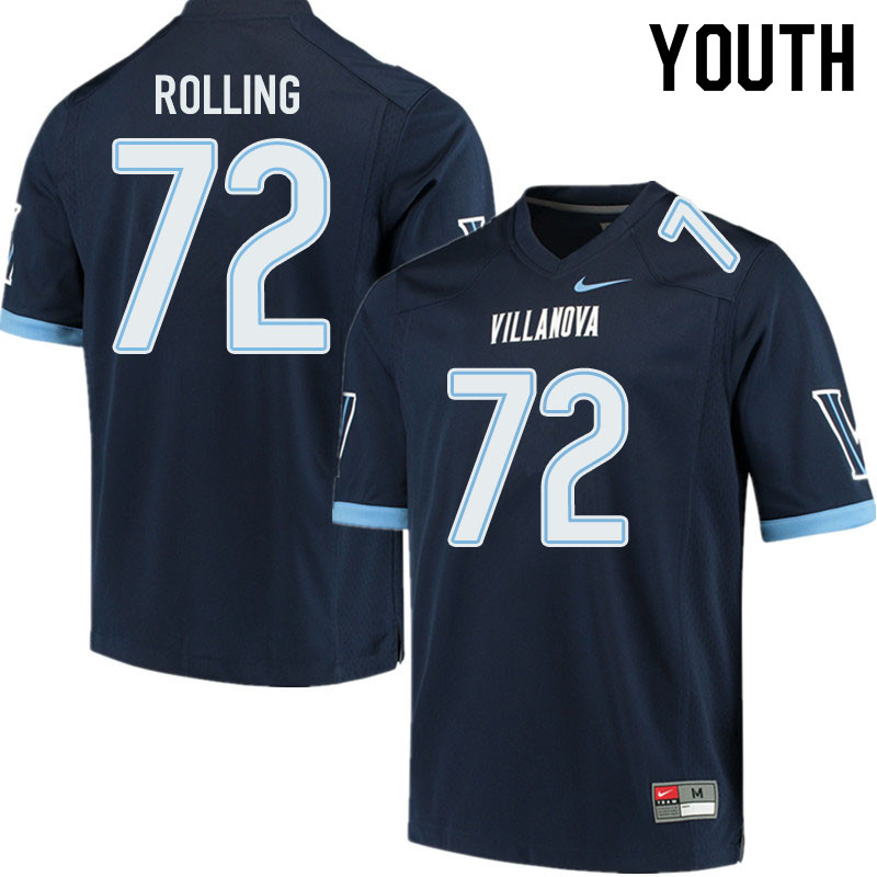 Youth #72 Jaden Rolling Villanova Wildcats College Football Jerseys Sale-Navy