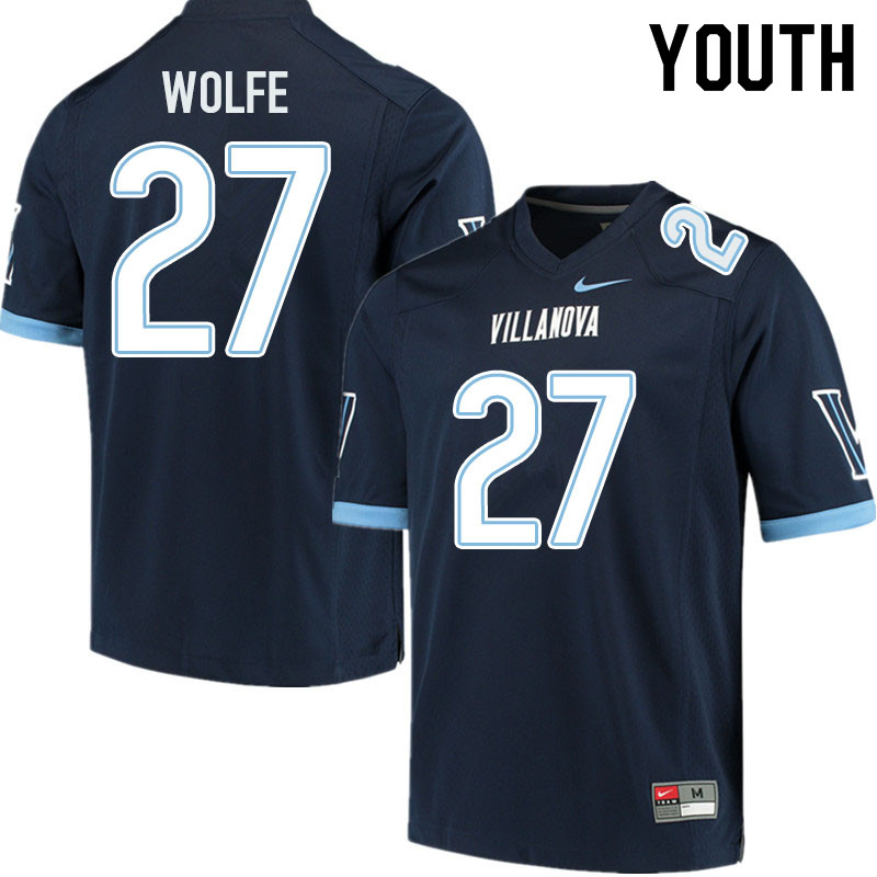 Youth #27 Jared Wolfe Villanova Wildcats College Football Jerseys Sale-Navy