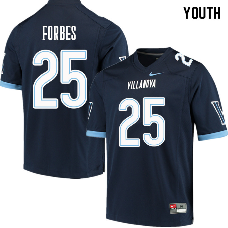 Youth #25 Aaron Forbes Villanova Wildcats College Football Jerseys Sale-Navy