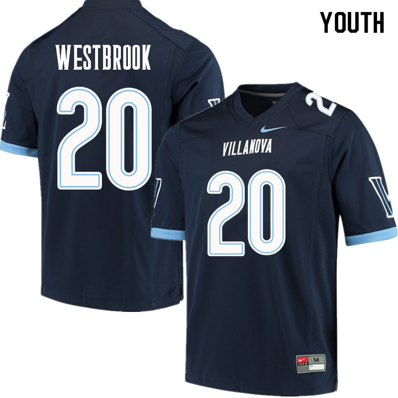 Youth #20 Brian Westbrook Villanova Wildcats College Football Jerseys Sale-Navy
