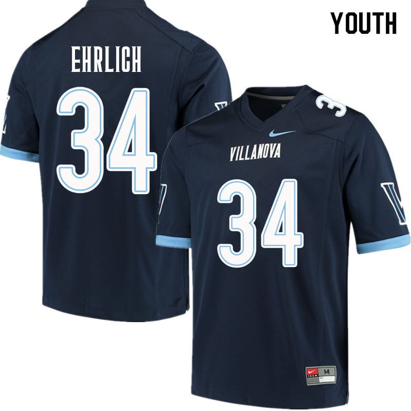 Youth #34 Drew Ehrlich Villanova Wildcats College Football Jerseys Sale-Navy