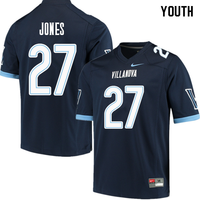 Youth #27 Jevon Jones Villanova Wildcats College Football Jerseys Sale-Navy