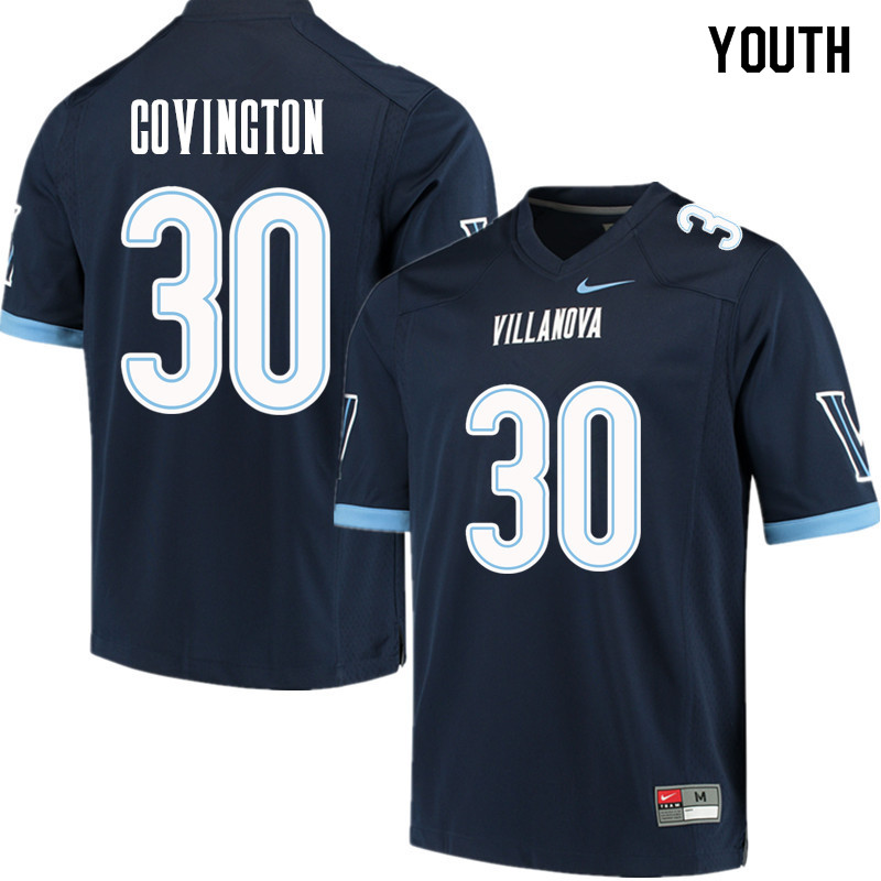 Youth #30 Justin Covington Villanova Wildcats College Football Jerseys Sale-Navy