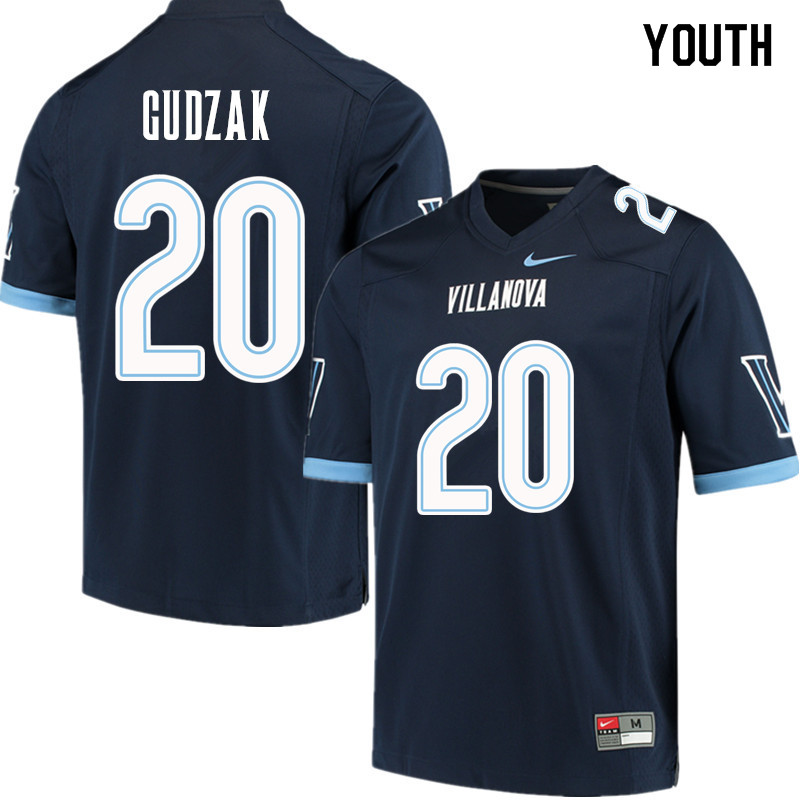 Youth #20 Matt Gudzak Villanova Wildcats College Football Jerseys Sale-Navy